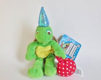 "Franklin the Turtle, Vintage Franklin Plush Toy, Franklin and Friends Plush Bean Doll 9"" 1986, Franklin Childrens TV Show, Turtle Stuffie"