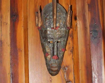Vintage Hand Crafted African Mask from Ghana Africa