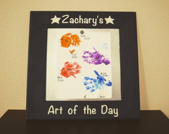 17x17 painted wooden frame with magnetic backing for childrens artwork
