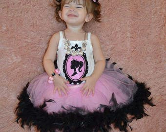 Vintage barbie birthday outfit, barbie birthday outfit, barbie party, feather tutu, over the top birthday outfit, barbie theme outfit,barbie