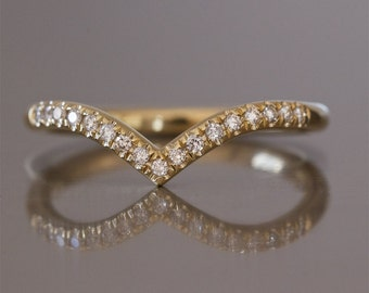 curved wedding band , diamond v ring , curved wedding ring , chevron diamond ring , elegant wedding ring , thin diamond ring , curved ring