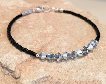 Black bracelet, sparkly gray bracelet, seed bead bracelet, fall bracelet, statement bracelet, sterling silver bracelet, gift fo her