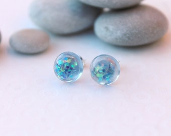 Pale Blue Glitter Earrings - Glitter Studs - Glitter Resin Earrings - Stud Earrings - Post Earrings - Resin Jewellery
