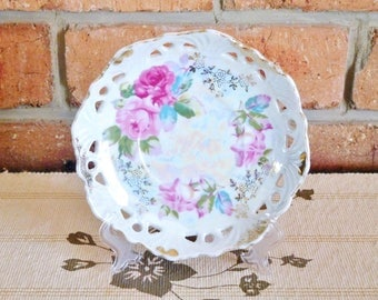Japanese mid century porcelain lusterware pierced edge floral saucer, serving dish, side plate, high tea
