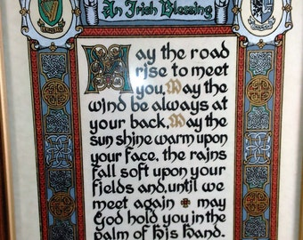 Irish Blessing With Celtic Symbols And 4 Provinces Of Ireland Flank The Corners/Ripped Paper In Back And No Wall Mount/Great Used N