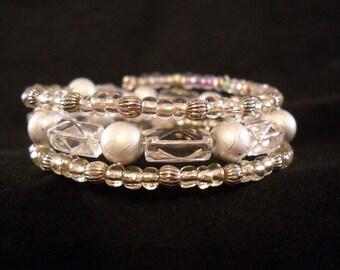 Silver-tone & Clear Glass Memory-Wire Beaded Bracelet, 3-X Wrap Beaded Bracelet