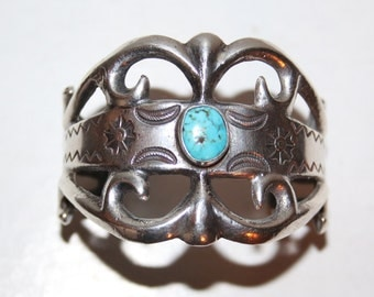 Navajo Heavy Tufa Sandcast Sterling Silver Stamped Turquoise Cuff Bracelet 67.4g