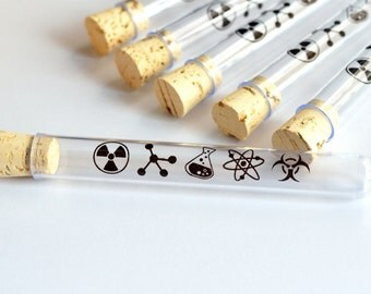 Science Test Tubes with Corks (Set of 10) | Plastic | Printed Candy Favors, Shooters | Mad Science Parties | Valentine's Day Graduation Gift