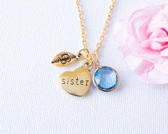 Gold sister necklace, sister necklace, sister Initial and birthstone necklace, sister gift, gift for sister, sister jewelry, GPSIIN0317