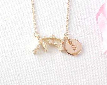 Aquarius Zodiac Necklace, Aquarius jewellery, constellation jewelry, star sign necklace, January and February birthday / SS002