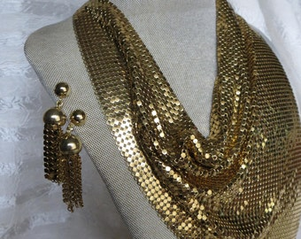 Vintage Whiting & Davis Gold Tone Mesh Bib Necklace and Matching Earrings