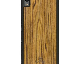 Sony Xperia XA Olive Wood Case - Real Wooden Case - Black Bumper