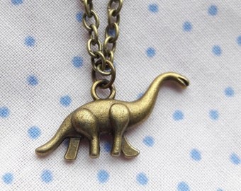 Diplodocus dinosaur charm necklace