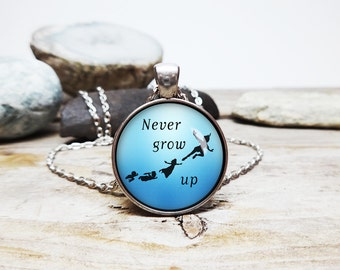 Never grow up necklace peter pan necklace peter pan quote disney movie jewelry peter pan jewelry pan and hook lost boys flying necklace