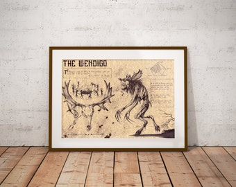 Medium - Wendigo - Algonquian folklore Art Print