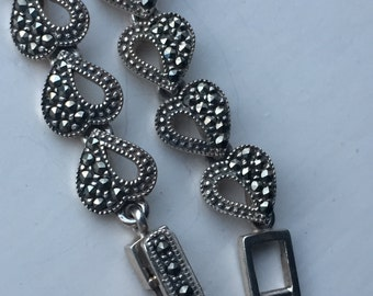 Vintage 925 Sterling Silver marcasite link bracelet 20g 12mm 7 3/4 inches birthday Anniversary love gift