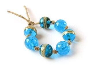Blue Lampwork Beads, Handmade Lampwork Bead Set, Murano Glass Beads, Round Beads, Seaglass, Aqua blue, Beach style, Ocean, Jewelry making