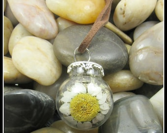 """Daisy Globe Pendant on 26"""" Leather Cord Necklace"""
