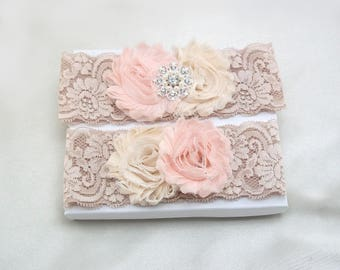 Blush Cream Wedding Garter Set, Rose Beige Lace Bridal Garter Set, Shabby Flowers, Gold Silver Crystal Rhinestone Pearl Bling Button Btn-Chc