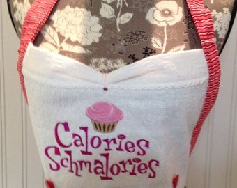Embroidered Apron Bodice Button On vintage winter scene embroidered pink cupcake  Reversible