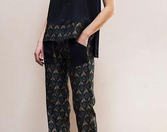 Silk pajama set, silk pants, silk tank top, tall women clothing, silk pajamas, silk lounge wear, silk sleepwear, silk set, silk clothes