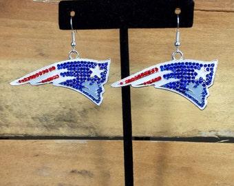Patriots Earrings, New England Patriots, Tom Brady, Football Earrings, Patriots Jewelry, Gift, Bling, Rhinestone, Pats, Red White Blue,