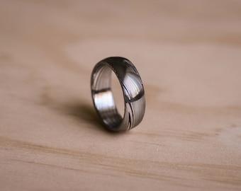 Damasteel Damascus Dense Twist Pattern Ring - Domed Ring