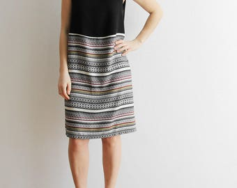 whole dress in black viscose and stripes