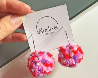 "Handmade statement dangle earrings // gifts for her // ""POMPOM"""