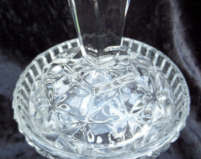 Czechoslovakian Glass Lidded Trinket Pot, Art Deco Clear Pressed Glass, 1950's Libochovice Pattern 1473, Star Base, Immaculate, 4""