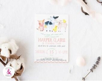 Barnyard Birthday, Girl Farm Birthday Invitation, Printable, Birthday Party Invites  [430]