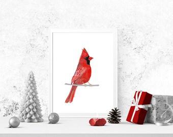 Printable Christmas Wall Art, Christmas Decoration, Red Cardinal Print, Christmas Wall Art, DIY Christmas Printable, Holiday Decor, Cardinal