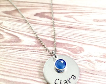 Personalized Name Necklace, Hand stamped circle pendant necklace, Name necklace, Trendy necklace, Custom name necklace