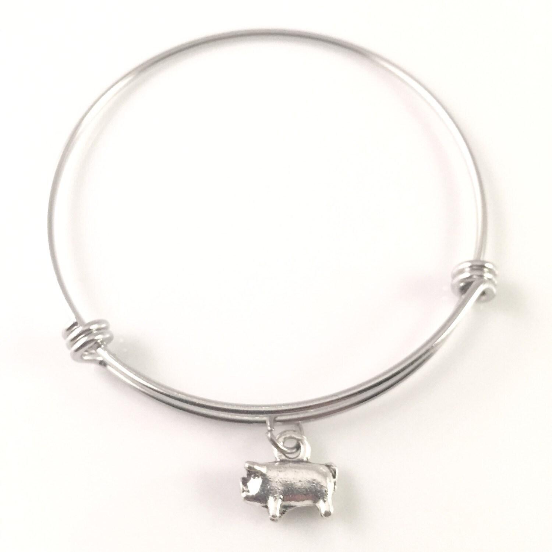 pig bangle bracelet charm bracelet silver charm bracelet