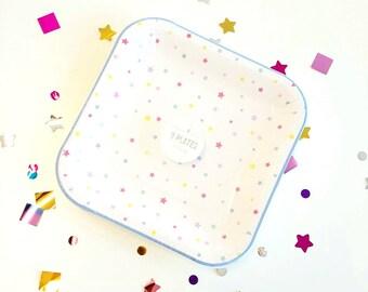 Meri Meri star large paper plates (12). Rainbow party supplies. twinkle twinkle party plates. Pastel plates. dessert plats. cocktail plates