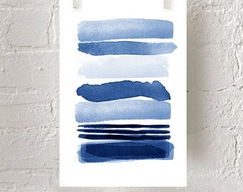 Abstract Watercolor Blue Painting Stripes Indigo Blue Wall art Navy Lines Minimalist art Minimal Watercolor Large Abstract Print Geometric