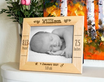 Personalized engraved frame, Custom photo frame, New baby frame, new born frame