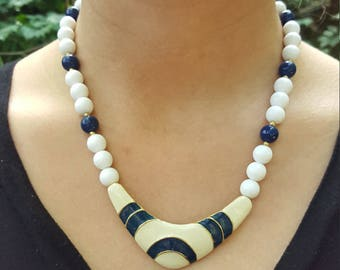 Vintage Beaded Necklace White Navy Blue