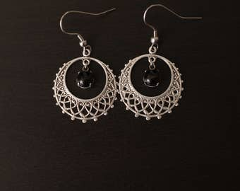 Magical hoop earrings,witchy earrings,witchy jewelry,boho jewelry,hippie jewelry,boho earrings,onyx earrings,onyx jewelry,dangling earrings