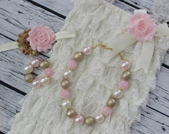 FREE SHIPPING Pink Gold Ivory Cream Lace Romper Headband Bubble Gum Necklace and Bracelet Outfit Set Cake Smash First Birthday Flower Girl