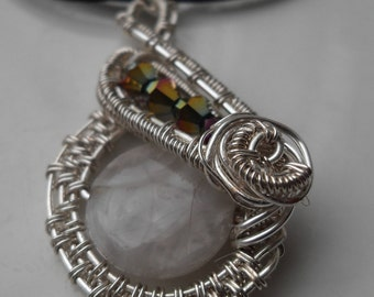 Handcrafted Wire Wrapped Agate Puffy Coin Pendant