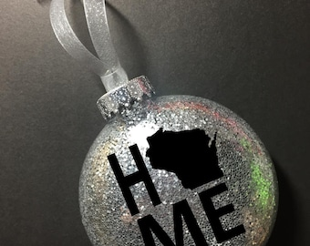 Wisconsin Home Ornament, Christmas Ornament, Wisconsin, WI, Home, Wisconsin Gift, Christmas gift for her, Gift for him, Xmas ornament