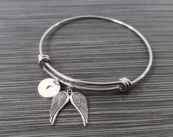 Dainty Angel Wings Bangle - Guardian Angel Bracelet - Expandable Bangle - Angel Charm Bangle - Initial Bracelet - Mom Gift - Mother Bracelet