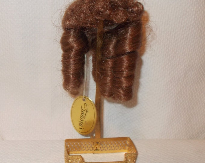 "Vintage 70s Tallina's Reddish Brown Synthetic Doll Wig With Ringlets Curly Bangs Size 5"" - 6"""