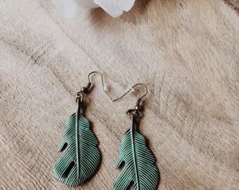 Mint Earrings, Feather Earrings, Drop Earrings, Dangle Earrings, Boho Earrings, Boho Jewelry, Long Earrings, Hippie Earrings, Summer Earring