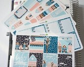 Winter in Town Modern January 4 Page Weekly Sticker Kit  / Planner Stickers / Erin Condren / Cold Christmas Stickers
