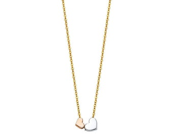 14K Solid Yellow Gold Double Heart Rose And White Gold Two Hearts Dual Pendant Necklace Chain