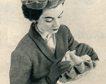 1950's Mid Century Lady's Hat & Matching Purse Crochet Pattern PDF Instant Download