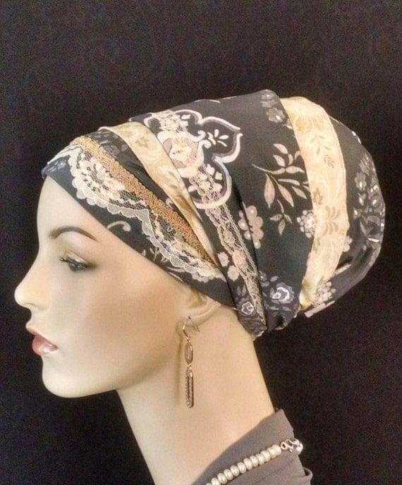 Exquisite floral cotton and lace Sinar tichel, tichels, apron tichels, head wraps, chemo scarves, mitpachat