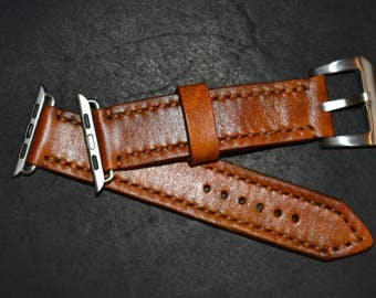 Genuine leather strap for Apple Watches 42 mm. Natural vegetable tanned leather.  100% handmade. Full grain